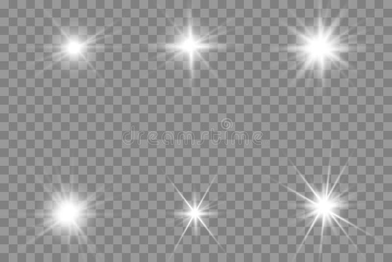 Glödande ljus bristningsexplosion för vit med genomskinligt stock illustrationer