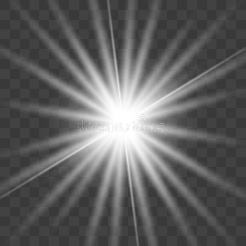 Glödande ljus bristningsexplosion för vit stock illustrationer