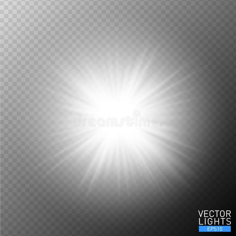 Glödande ljus bristningsexplosion för vit på genomskinlig bakgrund Garnering för ljus effekt för vektorillustration med strålar l royaltyfri illustrationer