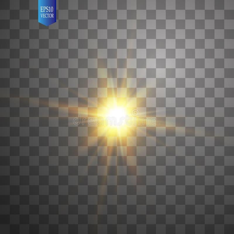Glödande ljus bristningsexplosion för vit på genomskinlig bakgrund Garnering för ljus effekt för vektorillustration med strålen stock illustrationer