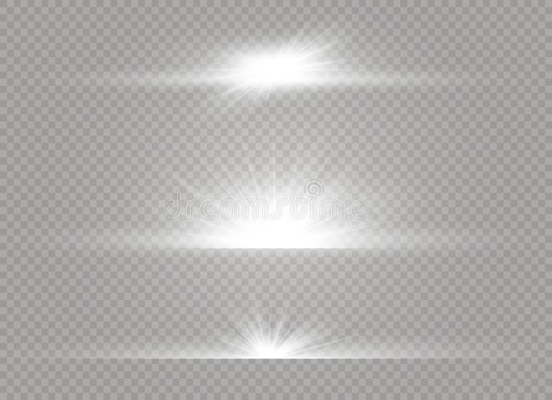 Glödande ljus bristningsexplosion för vit på genomskinlig bakgrund Garnering för ljus effekt för vektorillustration med strålen vektor illustrationer