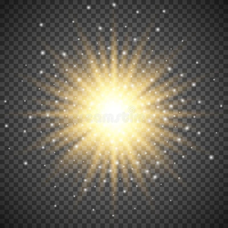 Glödande ljus bristningsexplosion för vit på genomskinlig bakgrund Ljus signalljuseffektgarnering med strålen mousserar vektor illustrationer