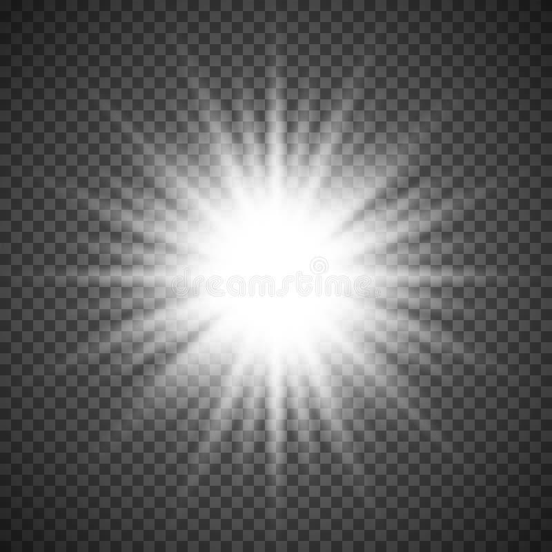 Glödande ljus bristningsexplosion för vit på genomskinlig bakgrund Ljus signalljuseffektgarnering med strålen mousserar stock illustrationer