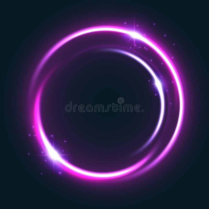 Glödande ljus effekt för cirkel med den skinande stjärnan royaltyfri illustrationer