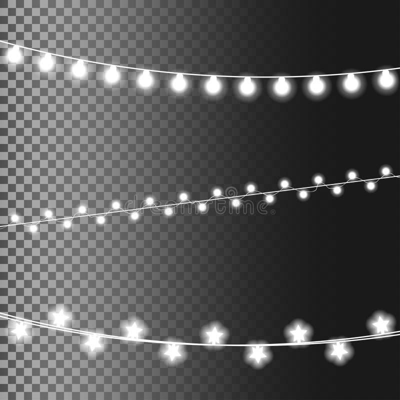 Glödande ljus för jul som isoleras på genomskinlig bakgrund Ställ in av girlander för det nya året, semestra realistiska designbe royaltyfri illustrationer