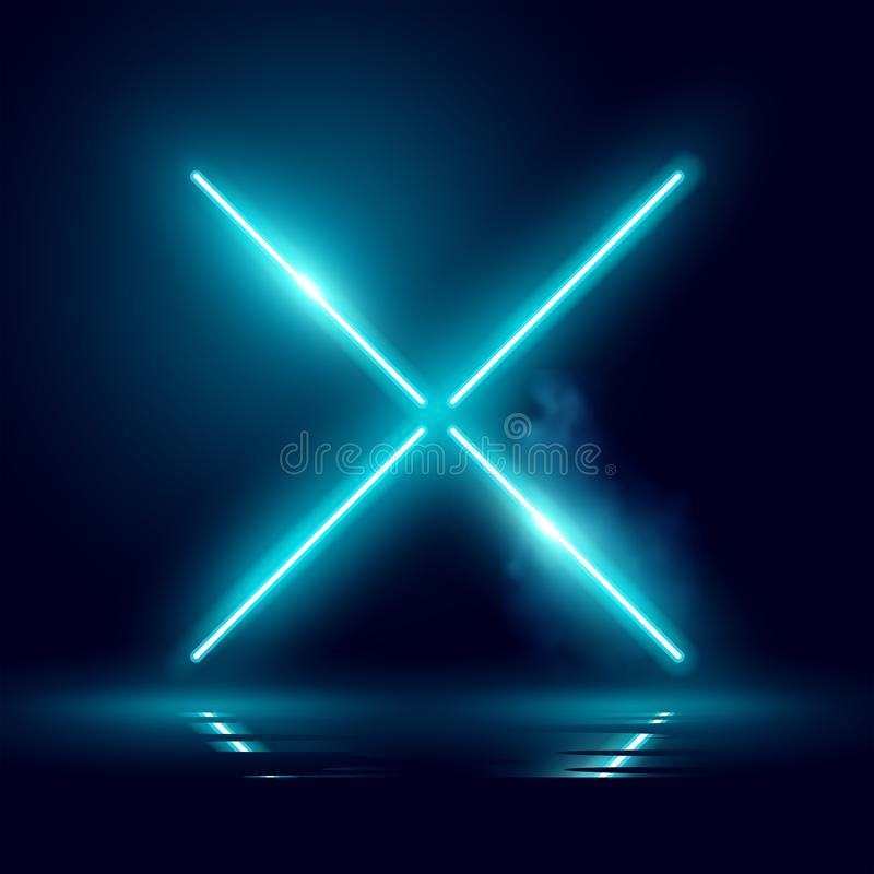 Glödande ljus för neonbakgrundsetapp royaltyfri illustrationer