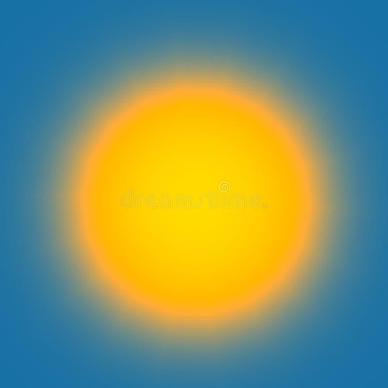 Glödande ljus kula på blå bakgrund - abstrakt färgrik glänsande cirkel - ljus himmel med den disiga gula solen - lampa som isoler stock illustrationer
