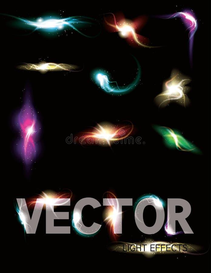 glödande ljus sparkling för colleffektelement stock illustrationer