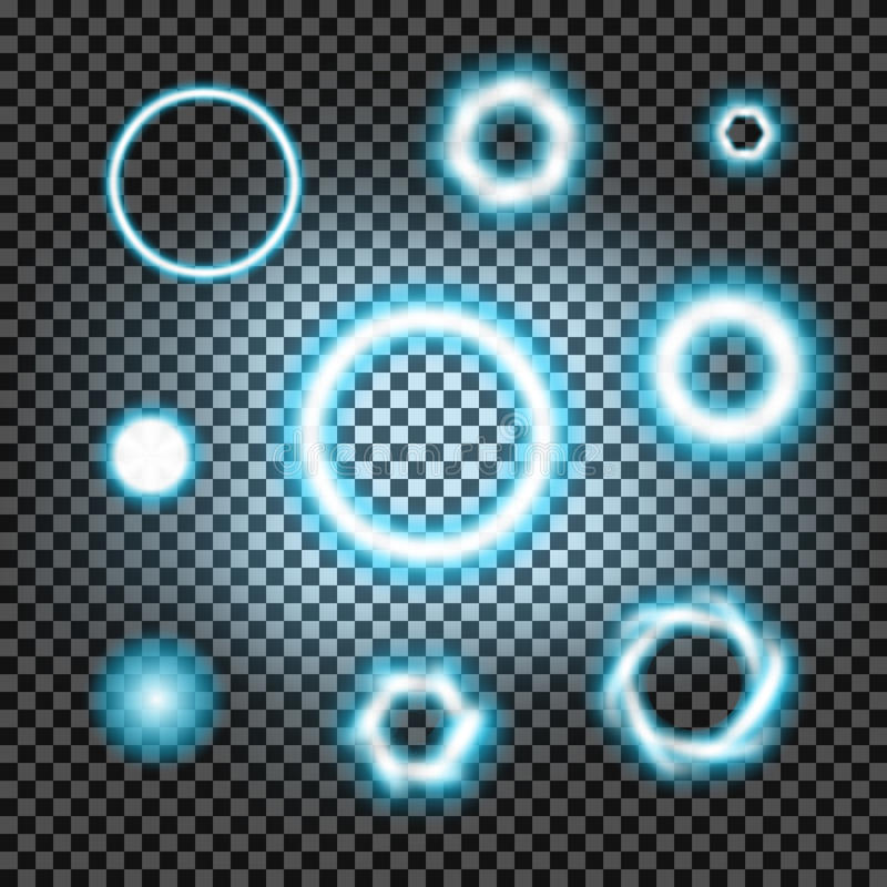 Glödande ljusbristningscirklar på en mörk svart för pläd vektor illustrationer