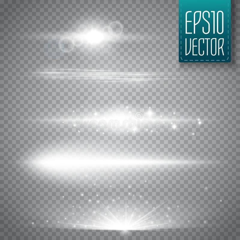 Glödande ljuseffekt, signalljus, explosion och stjärnor vektor illustrationer