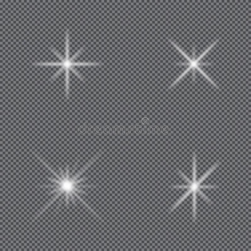 Glödande ljuseffekt Uppsättningen av mousserar stjärnor, glödexponeringen, ljus explosion och signalljuset vektor stock illustrationer