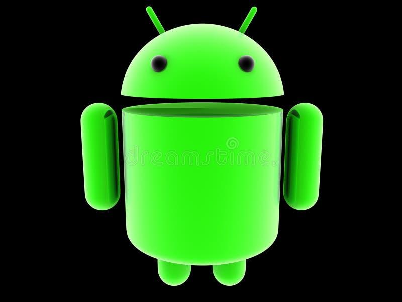 Glödande logo för Android 3D royaltyfri bild