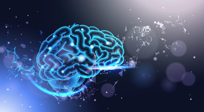 Glödande människa Brain On Poligonal Background With som skiner Bokeh ljus låg Poly stilvetenskap, medicin och teknologi vektor illustrationer