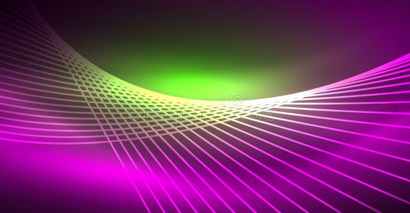 Glödande magisk bakgrund för neon, neonbaner, tapet för natthimmel Magisk ljus effekt Julabstrakt begreppmodell royaltyfri illustrationer