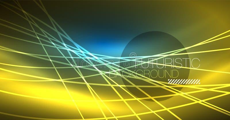 Glödande magisk bakgrund för neon, neonbaner, tapet för natthimmel Magisk ljus effekt Julabstrakt begreppmodell stock illustrationer