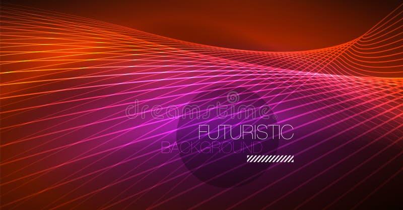 Glödande magisk bakgrund för neon, neonbaner, tapet för natthimmel Magisk ljus effekt Julabstrakt begreppmodell vektor illustrationer