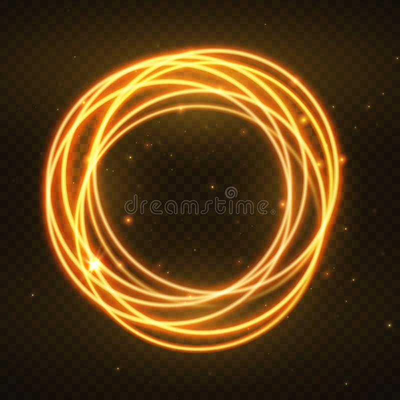 Glödande magisk cirkelram för vektor Glödande brandcirkelvåg Blänka effekt för gnistrandevirvelslingan på mörk genomskinlig bakgr vektor illustrationer