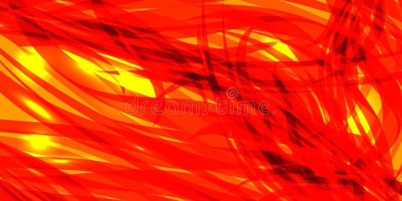 Glödande marsinvånarebakgrund för vektor av guling och röda linjer royaltyfri illustrationer