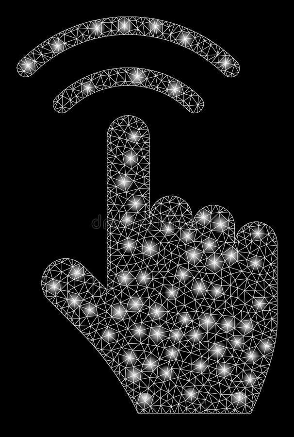 Glödande Mesh Network Finger Click med signalljusfläckar vektor illustrationer