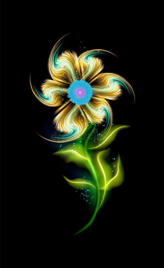 Glödande modern gul blommavektormodell Färgrik dekorativ beståndsdel som är blom- i svart bakgrund Härliga moderiktiga prydnader vektor illustrationer
