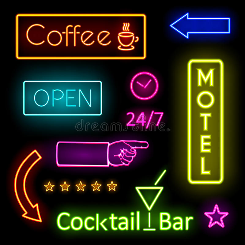 Glödande neonljus för kafé- och motelltecken vektor illustrationer