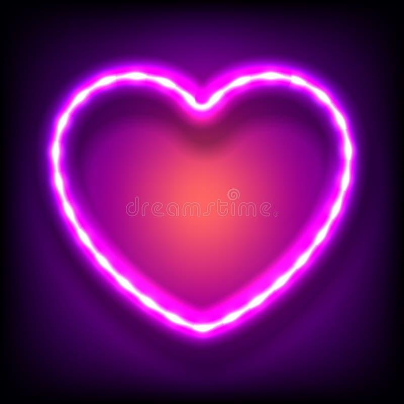 Glödande neonram i form av hjärta med ljusa kulor på färgrik mörk bakgrund royaltyfri illustrationer