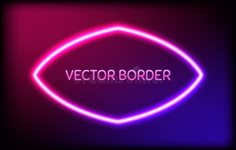 Glödande neonram med ljusa kulor på färgrik mörk bakgrund stock illustrationer
