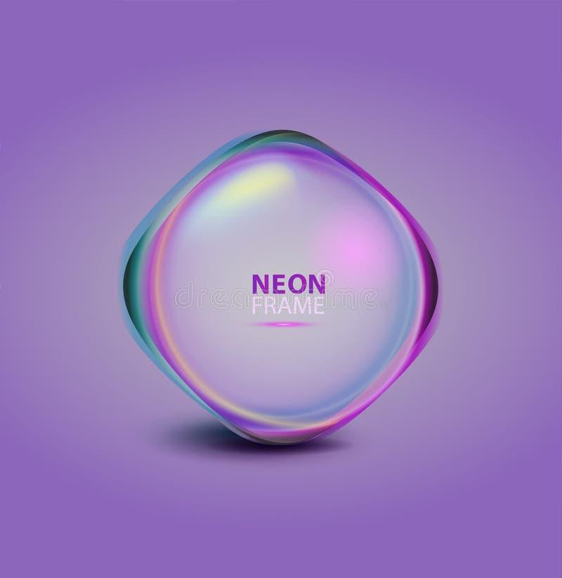 Glödande neonram och skinande sfär Vektorillustration för medcine och skönhetsmedel stock illustrationer