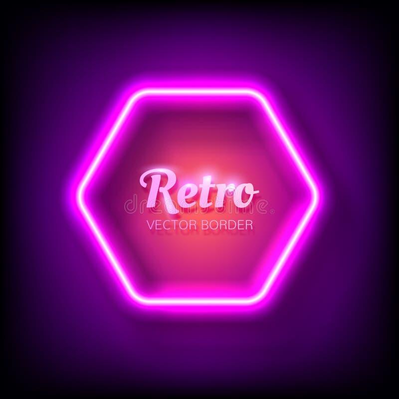 Glödande neonram på färgrik mörk bakgrund för din design royaltyfri illustrationer