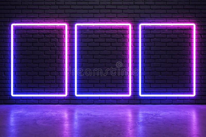 Gl?dande neonramar vektor illustrationer