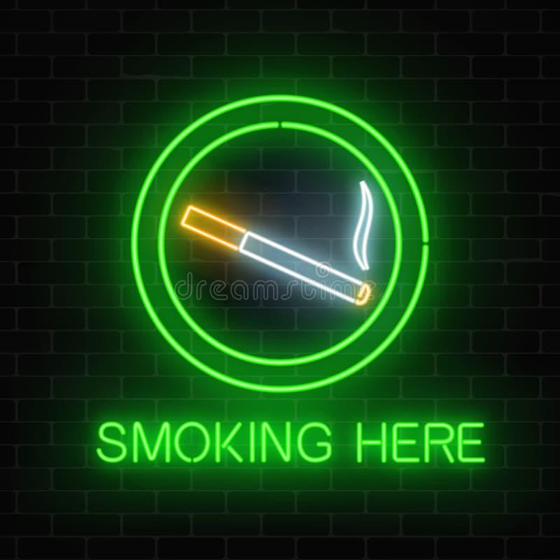 Glödande neontecken av att röka stället på den mörka tegelstenväggen av nattklubben eller stången Nikotin- och rökcigarettplats vektor illustrationer
