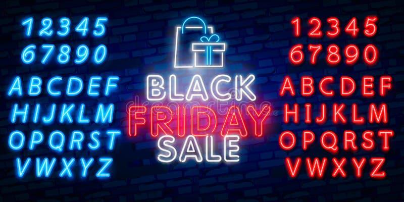 Glödande neontecken av den svarta fredag försäljningen i rektangelram med shoppingsymboler på mörk bakgrund för tegelstenvägg säs royaltyfri illustrationer