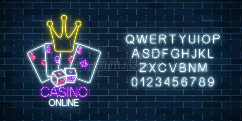 Glödande neontecken av kasinoonline spel med alfabet Ljus skylt för kasino Internetdobbleribaner stock illustrationer
