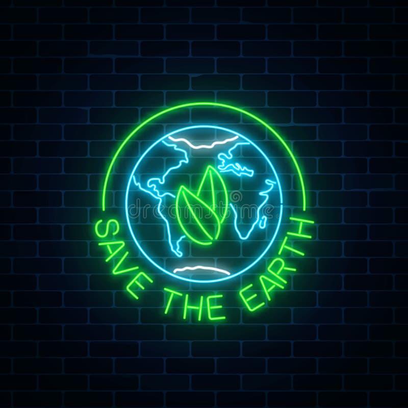 Glödande neontecken av världsjorddagen med sidor i jordklotsymbol och text på mörk bakgrund för tegelstenvägg vektor illustrationer