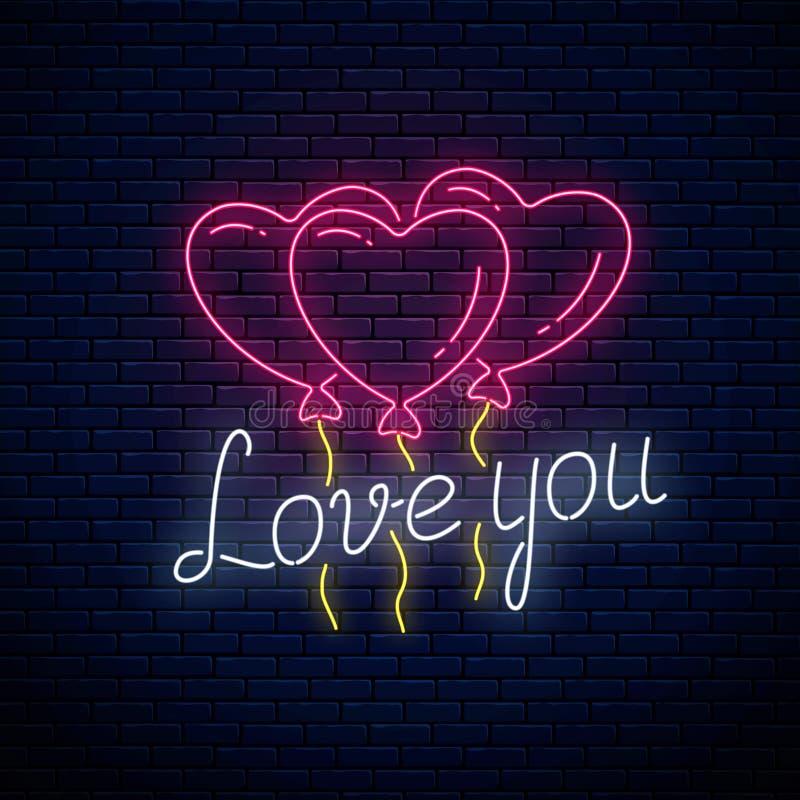 Glödande neontecken av valentindagen med hjärtaformballonger och att älska dig text Vektorillustration av valentindagen stock illustrationer