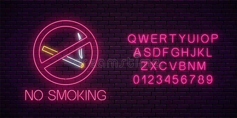 Glödande neontecken inte - röka med alfabet Förbud på nikotin- och rökcigaretter Skylt av inget - röka stället vektor illustrationer