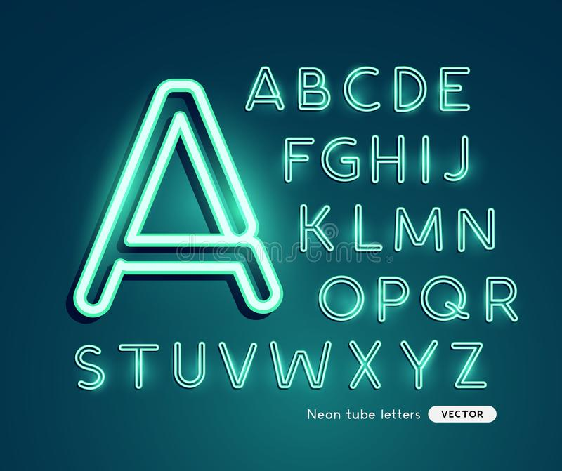 Glödande neonvektoralfabet vektor illustrationer