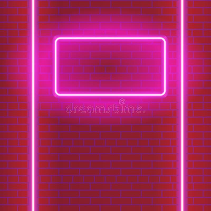 Glödande purpurfärgad bakgrund för neon med tegelstenväggen - vektorillustration vektor illustrationer