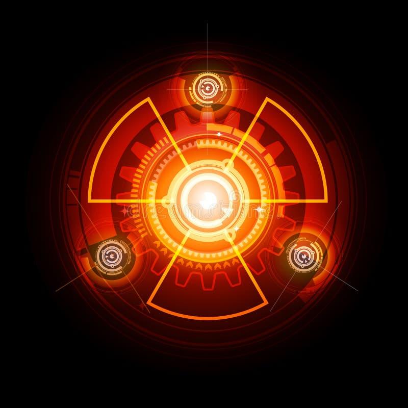 glödande radioaktivt tecken vektor illustrationer
