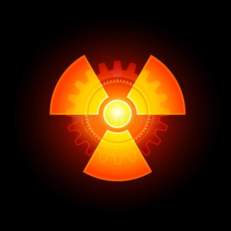 glödande radioaktivt tecken royaltyfri illustrationer