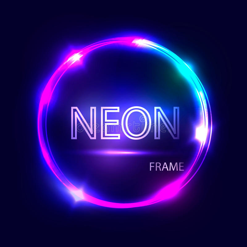 Glödande ram för neonrunda Elektrisk cirkel på mörk bakgrund Ljust baner med glöd stock illustrationer