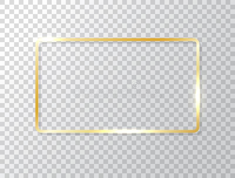 Glödande ram som isoleras på genomskinlig bakgrund Guld- lyxig rektangelgräns Guld- baner med ljuseffekter stock illustrationer