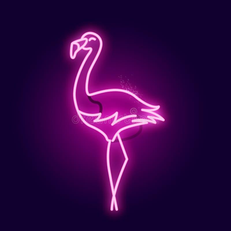 Glödande rosa neonflamingotecken stock illustrationer