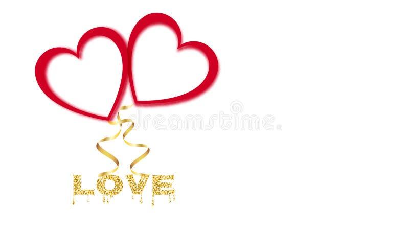 Glödande skinande ballonger för härligt abstrakt rött neon av deras hjärtor med guld- band för lyckliga valentin dag på vit bakgr vektor illustrationer