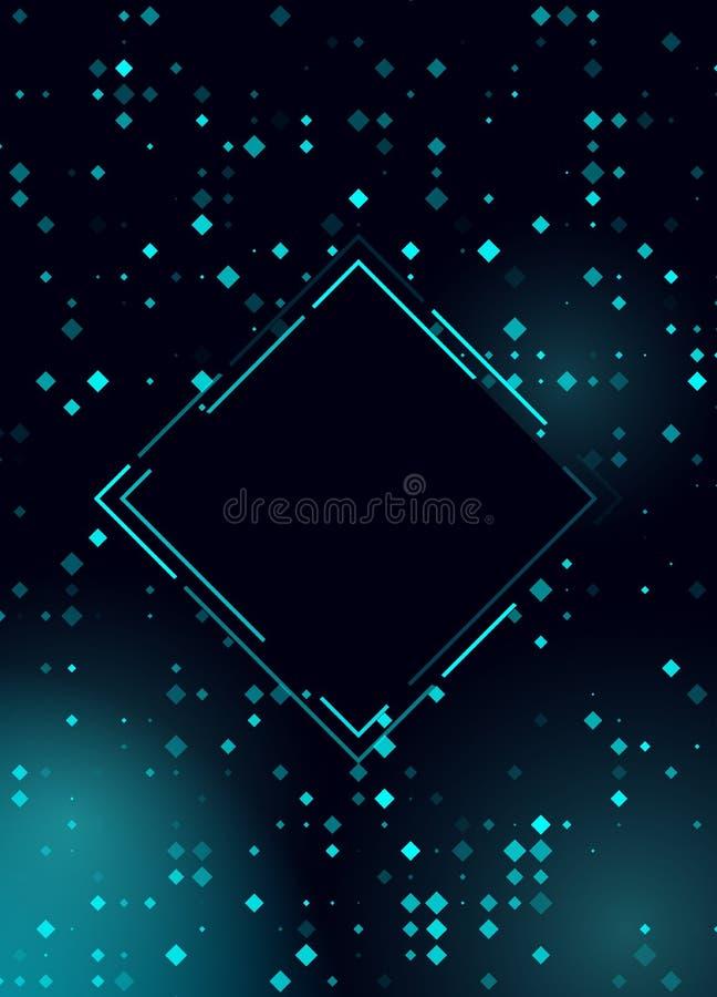 Gl?dande skinande bl? design f?r rastrerad romb f?r klubban, parti, showinbjudan Abstrakt bakgrund f?r neonljus f?r din design royaltyfri illustrationer