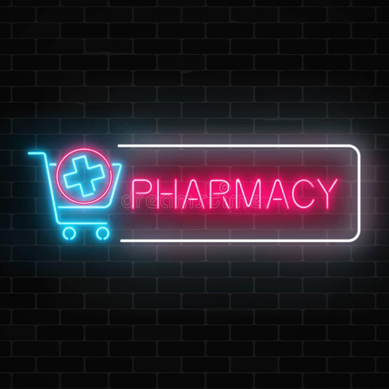 Glödande skylt för neonapotek med läkarundersökningkorset i shoppingvagn på bakgrund för tegelstenvägg royaltyfri illustrationer