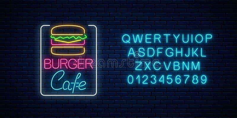Glödande skylt för neonhamburgarekafé med alfabet på en mörk bakgrund för tegelstenvägg Ljust affischtavlatecken för Fastfood royaltyfri illustrationer