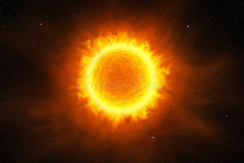 Glödande sol i yttre rymden royaltyfri illustrationer