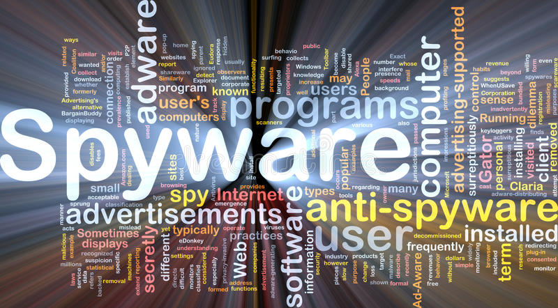 glödande spyware för bakgrundsbegrepp royaltyfri illustrationer