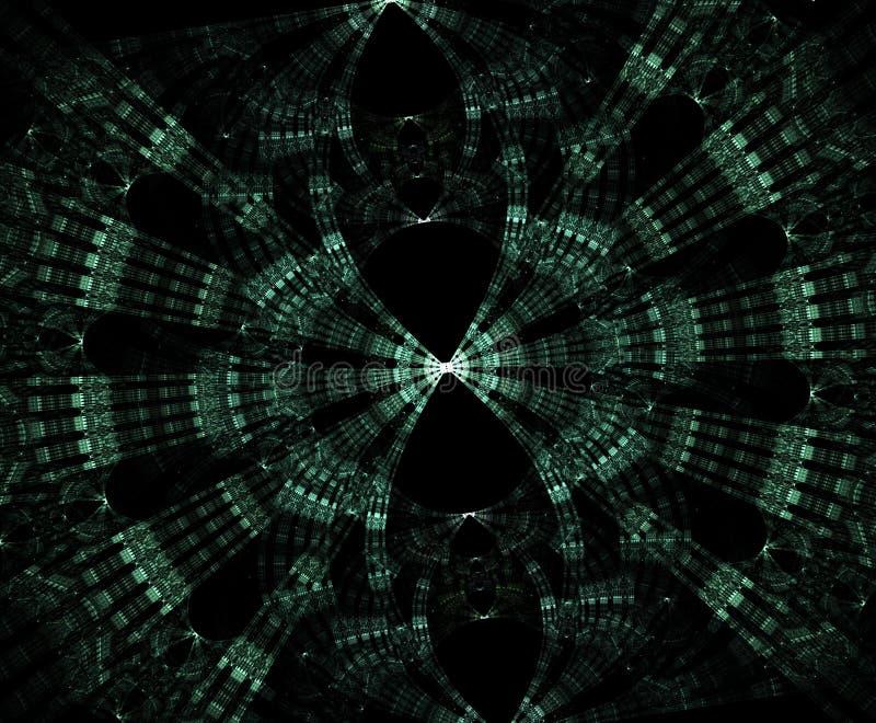 Glödande stargate i utrymme, dator frambragte abstrakt bakgrund Galaktiskt snöra åt fractalen stock illustrationer